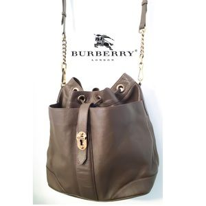 Authentic Burberry Large Leather Drawstring Bag